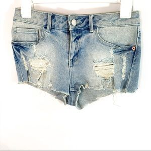 Asos petite distressed light wash denim shorts